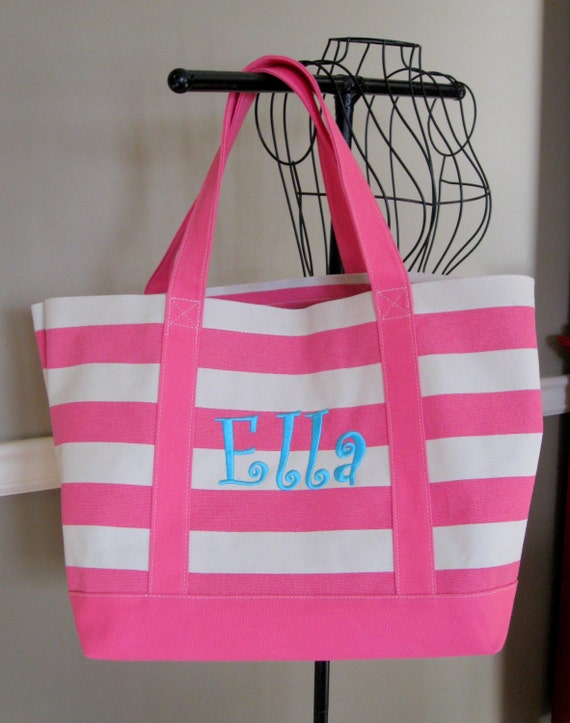 Canvas Tote in Hot Pink Stripes