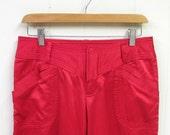 Vintage 1990s Pants / 90s Red Satin Armani Exchange Rockstar Pants / 30 Waist