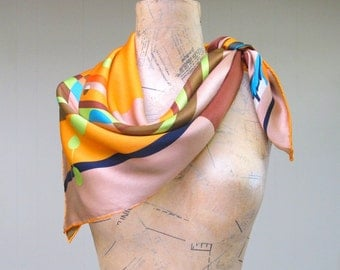 Vintage 1980s Scarf / 80s Christian Lacroix Silk Scarf Geometric Abstract
