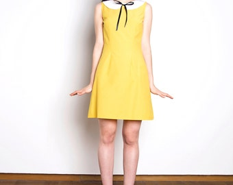 Peter pan collar dress cotton yellow white bow mod 1960s dress