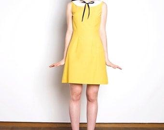 Peter pan collar dress cotton yellow white bow mod 1960s dress