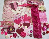 Basic Grey Kissing Booth Valentine's Day Embellishment Kit, Inspiration Kit for Scrapbook Layouts Cards Mini Albums Tags and Papercrafts
