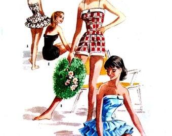 Vintage 1950s Swimsuit Pattern Uncut McCalls 3654 Bust 31 Size 13 Strapless Petite Junior