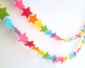 Mini Star Garland - made with rainbow wool blend felt, perfect for kids room, baby nursery's or birthday celebrations