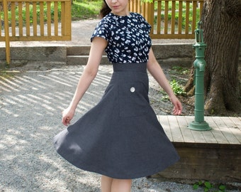40s style midi skirt with large pockets, A-line in gray, size US 2 / Swing skirt / Lindy hop skirt / Winter skirt / womens petite