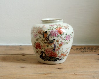 Vintage Japanese Ceramic Floral Vase