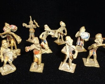 10 RARE Antique Painted Monkey Playing Instruments Figures