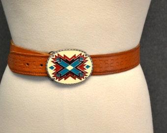 1990s Siskiyou Buckle and Leather Belt