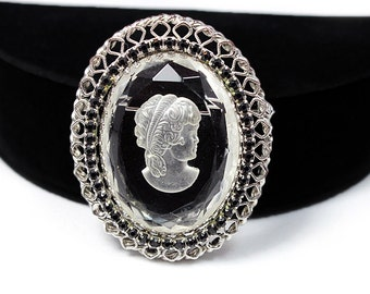 Lovely Glass Cameo Brooch with Rhinestones, Signed Warner, ca. 1950s