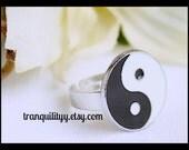Yin Yang Ring ,Beautiful Balance and Peace  Yin Yang  Adjustable Ring , Handmade  By: Tranquilityy