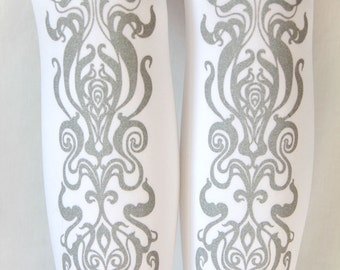 XL Art Nouveau Printed Tights Plus Size Silver on White Women Mucha Style Dolly Kei Lolita