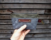 waxed canvas pouch / make up bag / satchel with clasp