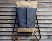 Daypack / day bag / small backpack in waxed canvas and oiled leather