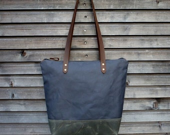 Waterproof tote bag, with double waxed canvas bottom and leather handles and zipper closure / ready to ship