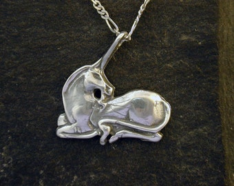 Sterling Silver Unicorn Pendant on a Sterling Silver Chain