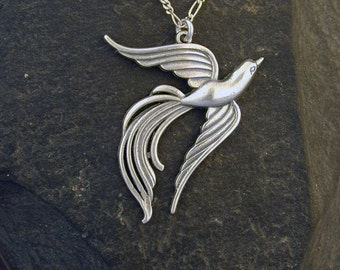 Sterling Silver Phoenix Pendant on a Sterling Silver Chain.
