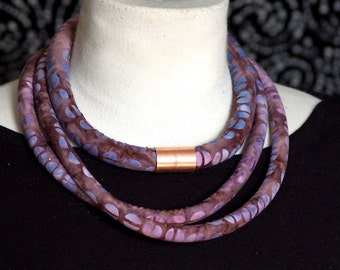 Purple Batik Fabric Rope Necklace with Copper Accent