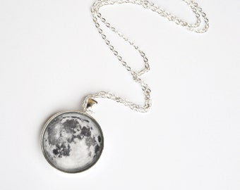 Moon necklace pendant with glass cabochon and metal chain
