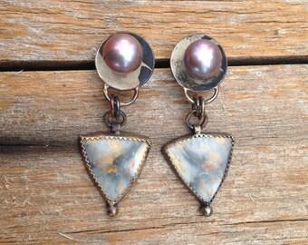 Tahitian Pearl Sterling Silver earrings with Picture Jasper,  bohemian jewelry, tahitian pearl earrings,