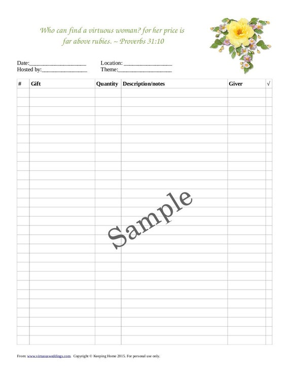 Wedding Shower Gift Record Template : ... Gift Record Sheet, Wedding, Bridal Shower, Wedding Shower, Printable