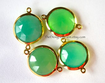 Green Chalcedony Round Connector with Vermeil Gold Bezel, Chalcedony Coin Connector Vermeil Frame