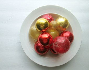 Group of 11 Gold & Red Glass Christmas Vintage Ornaments