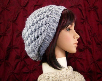 Hand knit slouch hat - gray hat - winter accessories - Women's beanie by Sandy Coastal Designs - ready to ship