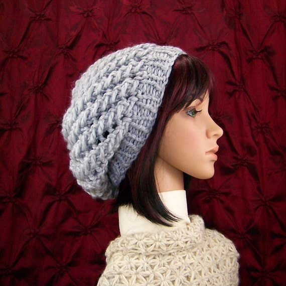Hand knit hat - gray hat - accessories - Winter Fashion by Sandy Coastal Designs - ready to ship