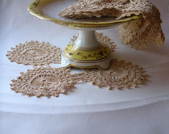 Vintage- Doilies - Set of Four(4)-French Tea Stained Cotton-Hand Crochet
