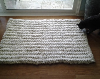 Chunky Rug Knitted Rug MADE TO ORDER Soft Rug off white Rug Crochet Rug Mat Cream Rug Crochet Rug Mat Alpaca Rug Wool Rug