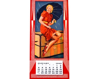Vintage 1965 Pin Up Girl Calendar USA Litho, Pin UP Girl with Umbrella
