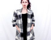 80's Vintage Long Plaid Cotton Blazer, small medium