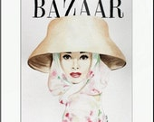 Harper's Bazaar. Audrey Hepburn. Print and White Mat. Frame Ready. 8x10 or 11x14