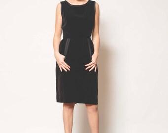 1960s Vintage Black Velvet Dress