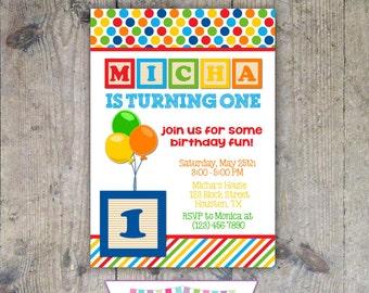 WOODEN BLOCKS 5x7 Birthday Party Invitation Boy - PRINTABLE