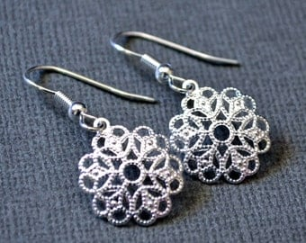 Silver Filigree Flowers . Earrings