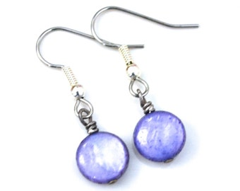Purple Mother of Pearl Rounds . Earrings