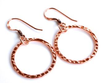 Copper Hammered Hoops . Earrings