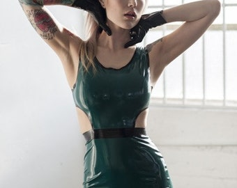 Brittany cutout latex dress