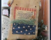 Primitive Sheep, primitive patriotic, prim patriotic sheep, folk art sheep, flag sheep, Primitive flag, July 4th, americana