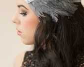 Gatsby Prom, Great Gatsby Headband, Art Deco Headband, Roaring 20s Black Gray Feather 1920s Headpiece, Silver Flapper Headband 1920s Costume
