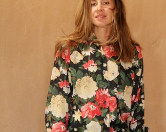 FLORAL mid 90s VERSACE style slouchy oversize grunge blouse shirt