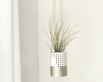 Gold & White Hanging Planter - Small Metallic Tillandsia Air Plant Pod, Hanger, Candle holder - Modern Indoor Outdoor Home Decor