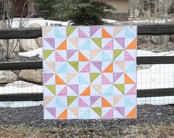 Bright Broken Dishes Half-Square Triangle Baby Quilt