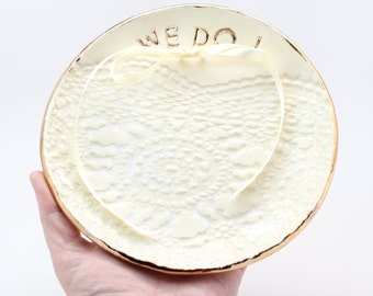 Large Ring Bearer Dish, Stoneware Ring Plate, Gold and Ivory Wedding Dish