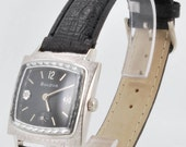 Bulova vintage wrist watch, 17 Jewels, white gold filled square case, diamonds on dial, black leather band