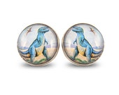 Dino Earrings - Retro Colorful T-Rex Dinosaur Blue Green Big Maxi Post Studs Quirky Rad Cute Image Vintage Hipster