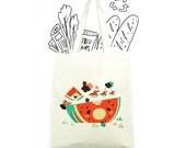 Childhood Watermelon Playground cotton canvas tote bag