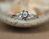 Delicate Rose Engagement Ring with White Sapphire in Sterling - Silver Unique Rose Diamond Alternative Promise Ring, Commitment Ring
