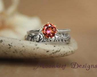 Flower and Leaf Engagement Ring Set in Sterling Silver - Vintage-style Classic Solitaire with Fitted Floral Band - Primrose Wedding Set